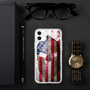 iPhone Case - Molon Labe - Spartan Helmet on Distressed American Flag