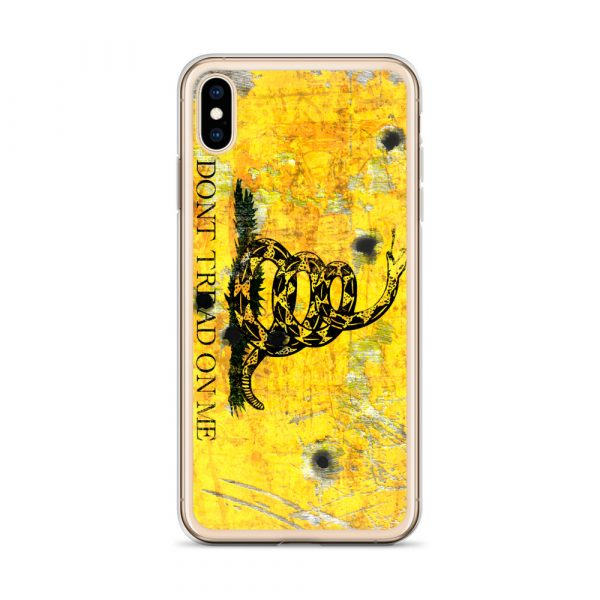 iPhone X/XS Case – Gadsden Flag on metal with bullet holes