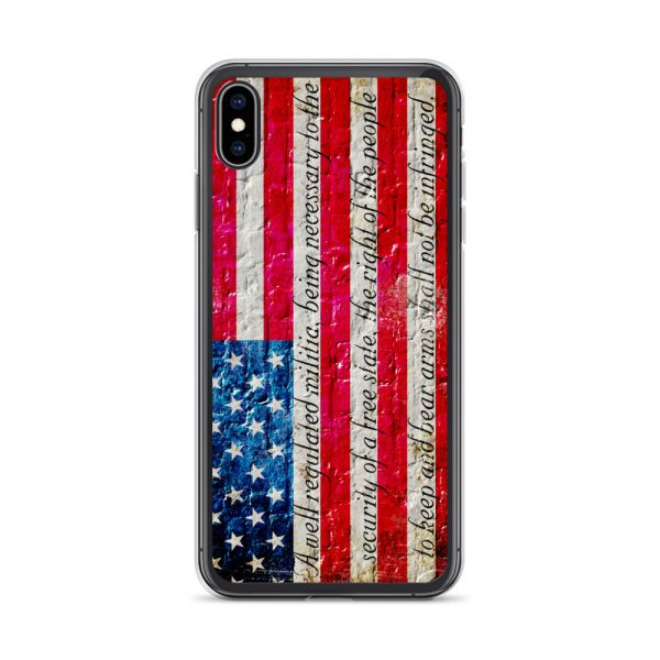 iPhone Black X/XSCase – American Flag & 2nd Amendment on Brick Wall Print