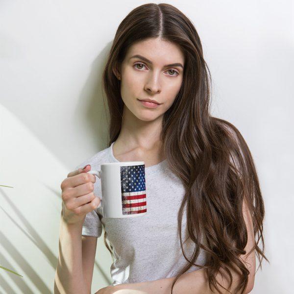 11 oz Mug - American Flag on Old Barn Wood