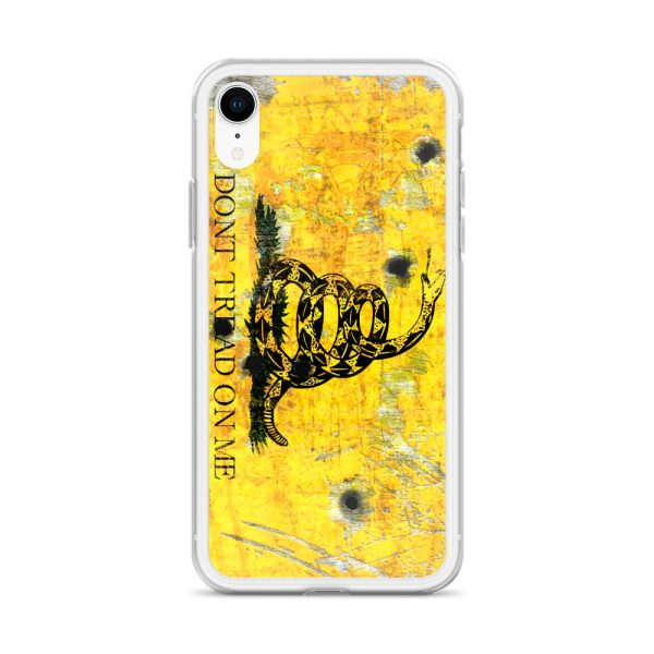 iPhone XR Case – Gadsden Flag on metal with bullet holes