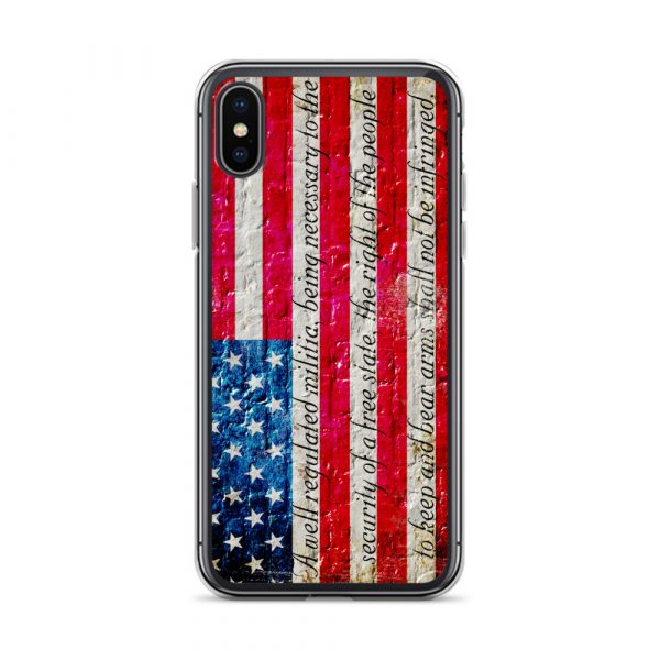 Black iPhone X/XSCase – American Flag & 2nd Amendment on Brick Wall Print