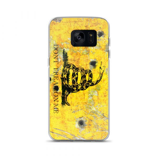 Samsung Galaxy S7 Case – Gadsden Flag on metal with bullet holes