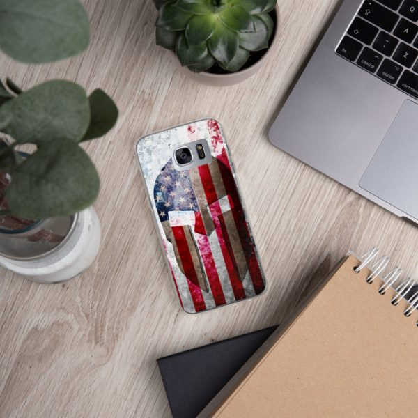 Samsung S7 Case – Molon Labe – Spartan Helmet on Distressed American Flag