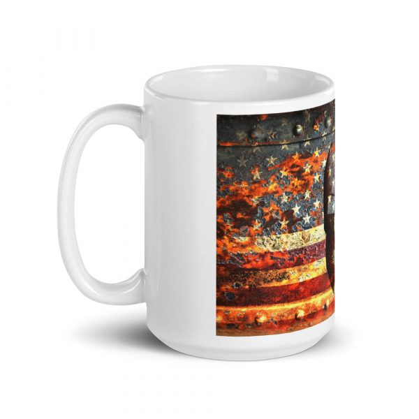 15 oz Mug - American Flag and Spartan Helmet on Rust left view