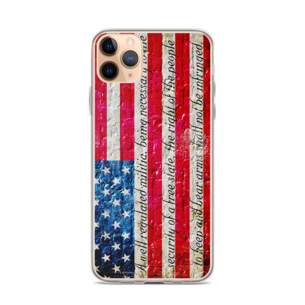 iPhone 11 Pro Max Case – American Flag & 2nd Amendment on Brick Wall Print