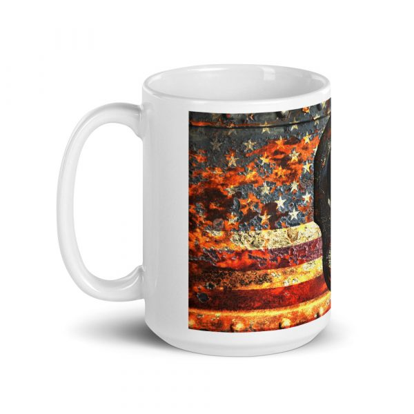 15 OZ Mug - M1911 Muzzle on Rusted American Flag - right view