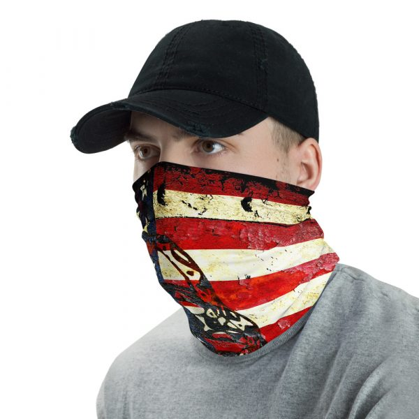 American and Gadsden Flag composition - Don't tread on me neck gaiter side view