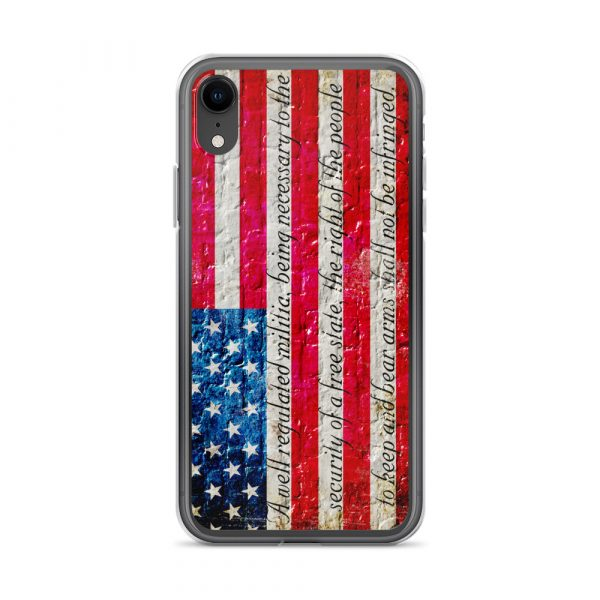 iPhone XR Case – American Flag & 2nd Amendment on Brick Wall Print