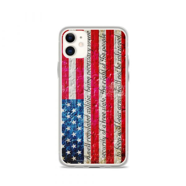 iPhone 11 Max Case – American Flag & 2nd Amendment on Brick Wall Print