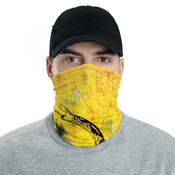 Male model with our Neck Gaiter with Gadsden Flag on distressed metal & bullet holes print