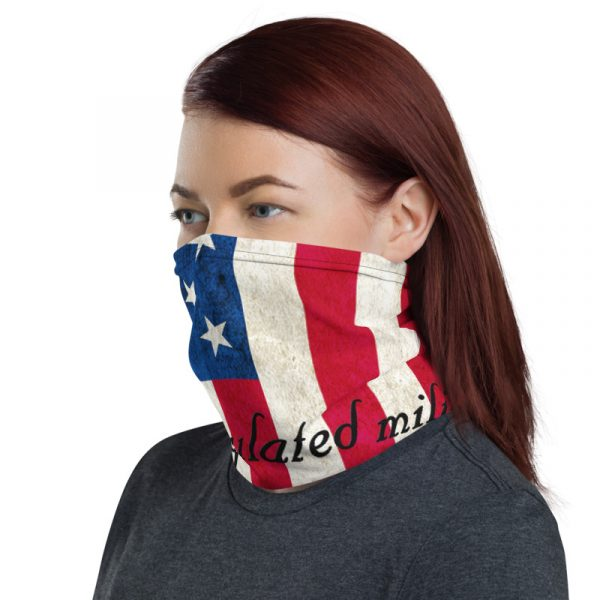American Flag and 2nd Amendment Neck Gaiter side view