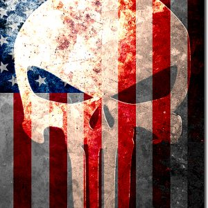 This beautiful print depicts a vintage American Flag and a tribal, Punisher inspired, skull painted on it.