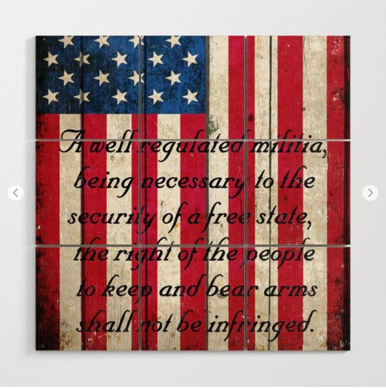 2nd Amendment on American Flag Wood Wall Art