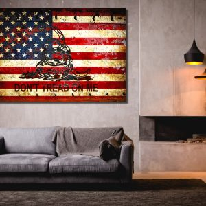 Don't Tread On Me - Gadsden & American Flag Composition Print on Metal Sheet, Stretched Canvas or Archival Paper