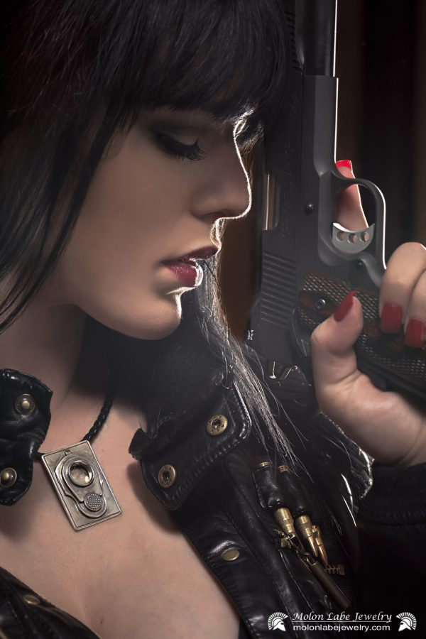 Gun Jewelry -Female model with Colt M1911 45 Muzzle & 2nd Amendment pendant