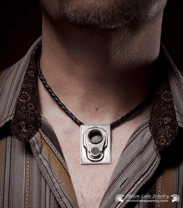 Gun Jewelry -Male model with Colt M1911 45 Muzzle & 2nd Amendment pendant