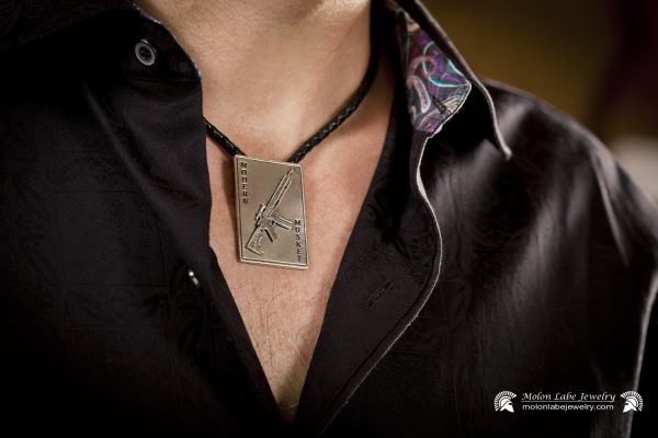 Pro Gun Jewelry - Unisex Sterling Silver AR-15 Riffle and 2nd Amendment Pendant on male model