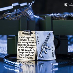 Pro Gun Jewelry - Unisex Sterling Silver AR-15 Riffle and 2nd Amendment Pendant