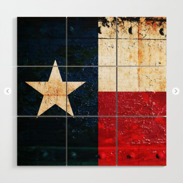 Texas Flag on Rusted Metal Sheet Wood Block Wall Art