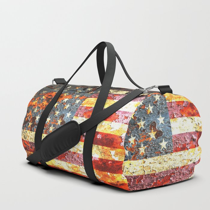 American Flag On Rusted Riveted Metal Door Duffle Bag