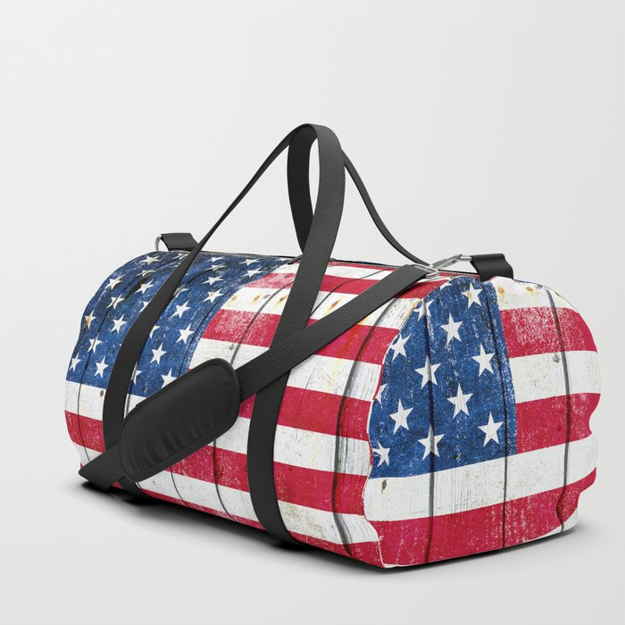 Distressed American Flag On Wood Planks - Horizontal Duffle Bag