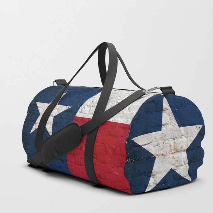 Distressed Texas Flag on Brick Wall Duffle Bag