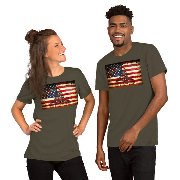 Army Grey Unisex T-shirt with Don't Tread On Me – Gadsden & American Flag Composition print