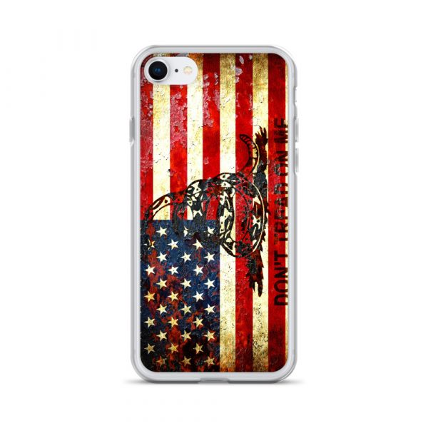 Don't Tread On Me – Gadsden & American Flag Composition on iPhone 8 case