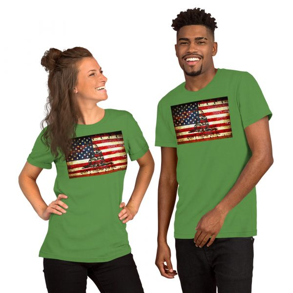 Green Unisex T-shirt with Don't Tread On Me – Gadsden & American Flag Composition print
