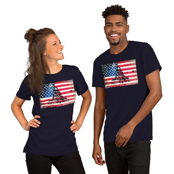 Navy T-Shirt Don't Tread on me Bullet Hole on American Flag