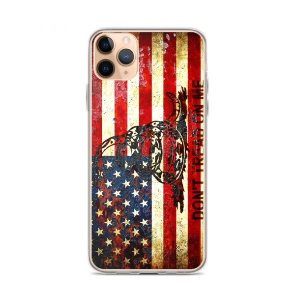 Don't Tread On Me – Gadsden & American Flag Composition on iPhone 11 Pro Max case