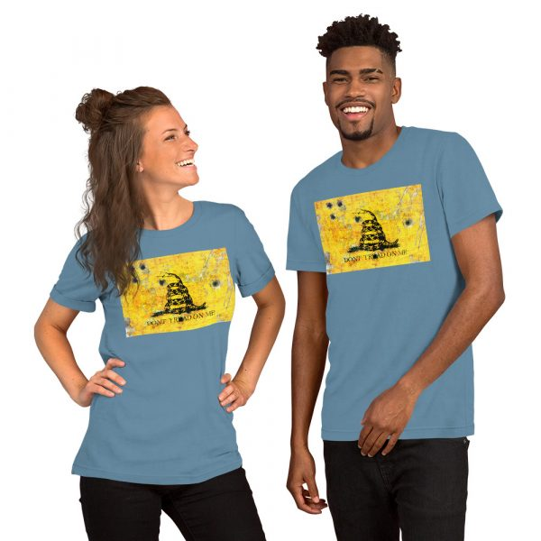 Blue Unisex T-Shirt Gadsden Flag Bullet Holes