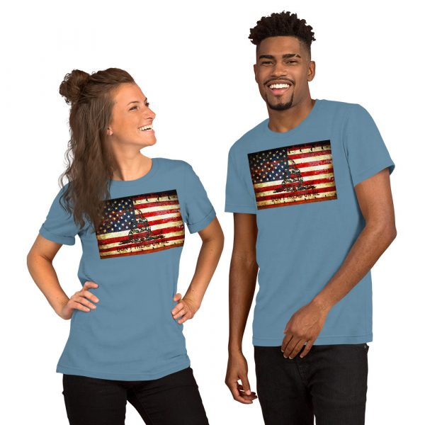 Blue Unisex T-shirt with Don't Tread On Me – Gadsden & American Flag Composition print