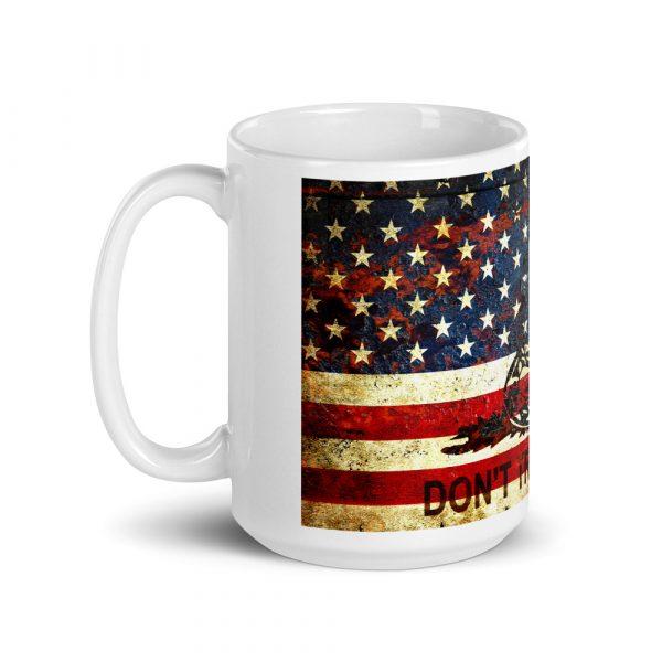 15oz Mug - Don't Tread On Me – Gadsden & American Flag Composition side view