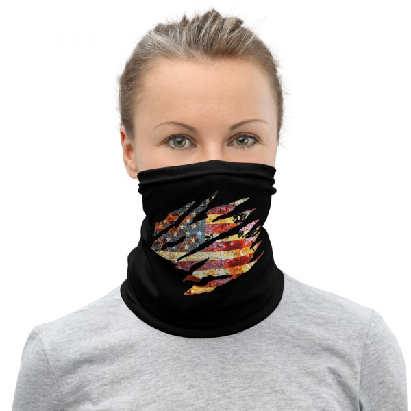 Small Torn American Flag Neck Gaiter Face Mask on female model