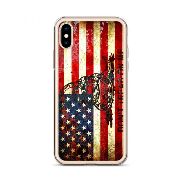 Don't Tread On Me – Gadsden & American Flag Composition on iPhone XS case