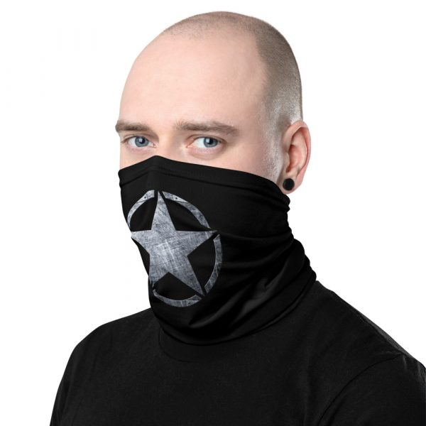 Small Army Star on Steel Neck Gaiter Face Mask left view