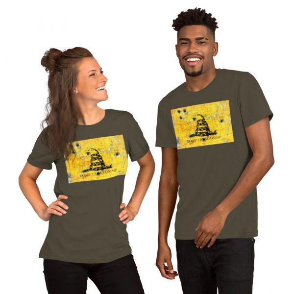 Army Unisex T-Shirt Gadsden Flag Bullet Holes