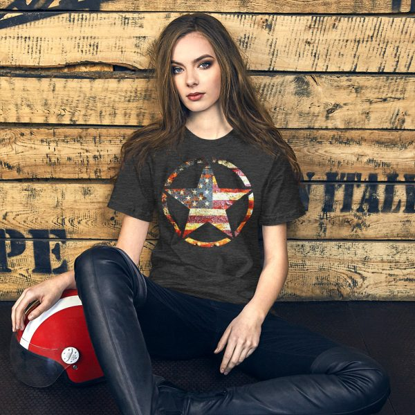 Dark Heather Grey Short-Sleeve Unisex T-Shirt Army Star on American Flag