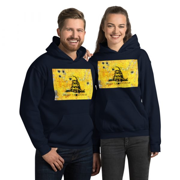 Navy Unisex Hoodie Don't Tread on me Gadsden Flag bullet holes