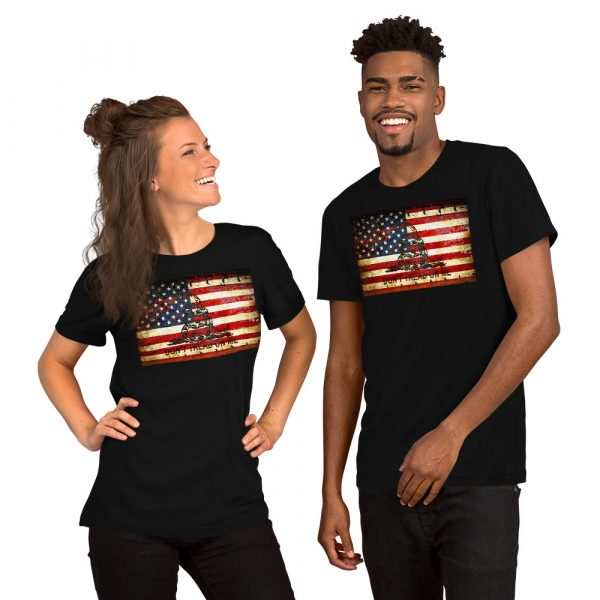 Black Unisex T-shirt with Don't Tread On Me – Gadsden & American Flag Composition print