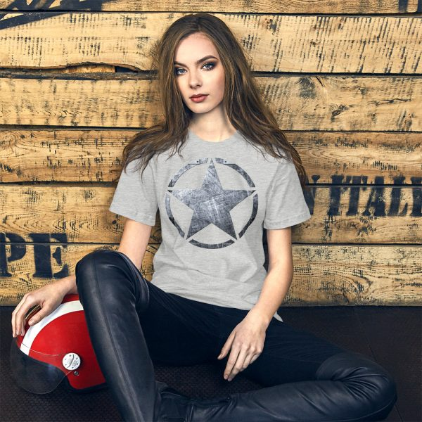 Short-Sleeve Unisex Athletic Heather T-Shirt Army Star on Riveted Steel