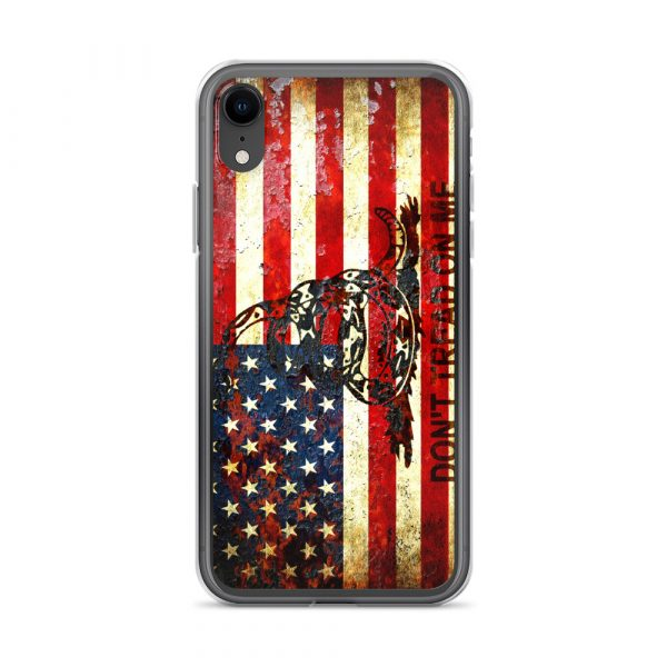 Don't Tread On Me – Gadsden & American Flag Composition on iPhone XR case