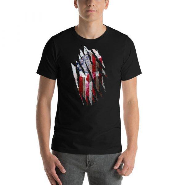 Short-Sleeve Unisex Black T-Shirt Torn Spartan Helmet on Distressed American Flag
