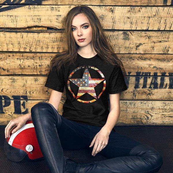Black Heather Short-Sleeve Unisex T-Shirt Army Star on American Flag