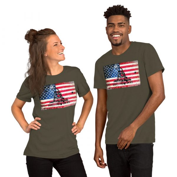 Army Grey T-Shirt Don't Tread on me Bullet Hole on American Flag