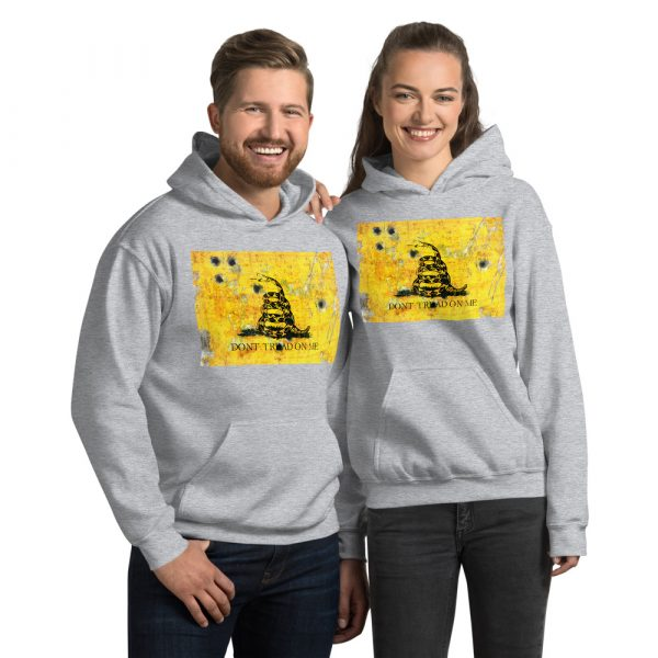 Sport Grey Unisex Hoodie Don't Tread on me Gadsden Flag bullet holes