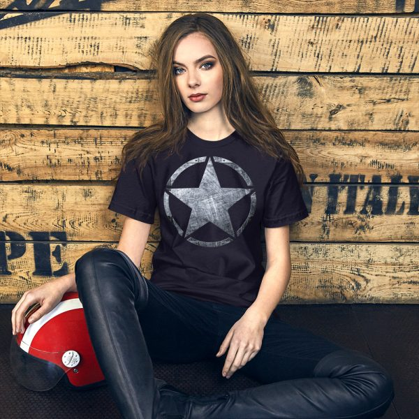 Short-Sleeve Unisex Navy T-Shirt Army Star on Riveted Steel