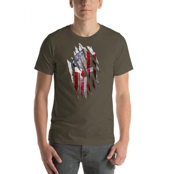 Short-Sleeve Unisex Army T-Shirt Torn Spartan Helmet on Distressed American Flag